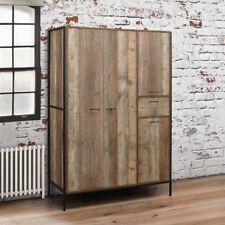 Urban Wood and Metal Rustic 4 Door Wardrobe 180cm X 124cm X 52cm