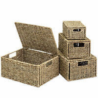 BCP Set of 4 Seagrass Storage Baskets w/ Lids - Natural