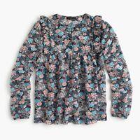 New J Crew Ruffle Front Top Shirt Paisley Floral Womens Pink Blue Silk Blnd NWT