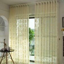 Embroidery Flower Sheer Curtain Voile Lace Window Drapes Tulle Curtains Decor HZ