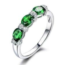 3Ct Oval Emerald Simulant Diamond 3 Stone Engagement Ring White Gold Fnsh Silver