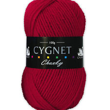 3x Balls of Cygnet Chunky Knitting Yarn 300g Acrylic 167 Red Wool Crochet Vegan