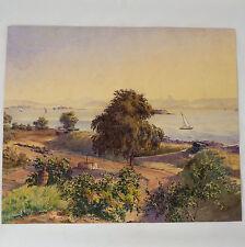 Aquarelle ancienne paysage de bord de mer début XXème