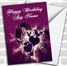 Purple Hearts And Swirls Romantic Birthday Customised Card
