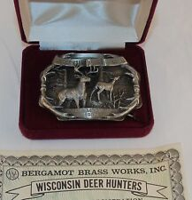 MINT 1985 WISCONSIN Deer Hunters Commemorative Belt Buckle Bergamot #417 of 2500