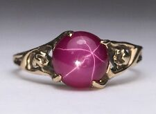 Vintage Star Ruby Ring 10k Yellow Gold Filigree Leaf