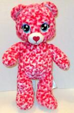 "Build A Bear Sugar Red Pink Tiny Hearts Teddy 16"" Plush Stuffed Doll Toy"