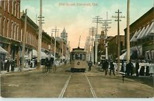 A Closeup View Of The Trolley On Pitt Street, Cornwall, Ontario ON Canada 1910