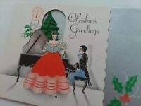 Vtg LADY Sings MAN Plays GRAND PIANO Deco Peek Window CHRISTMAS GREETING CARD