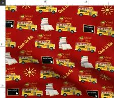 New listing School Bus Red Back to School Yellow Bear Spoonflower Fabric by the Yard
