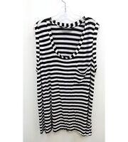 Norma Kamali Womens Plus Sz 3X Tunic Blouse Sleeveless Black White Striped P13