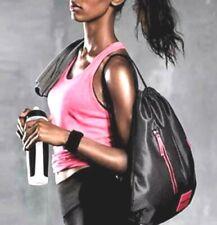 Victoria Secret Sport VSX Black Pink Gray Mesh Drawstring Gym Backpack Tote Bag