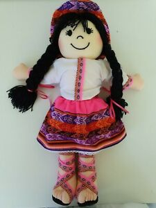 Equador Rag Doll Black Wool Hair 41cm Tall Soft Toy cloth doll