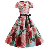 Woman Vintage Rockabilly Swing Dress Lady Evening Party Formal Dress Plus Size
