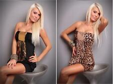 Black Leopard Womens Sequin Clubwear Fancy Mini Dress Costume Lingerie Outfit
