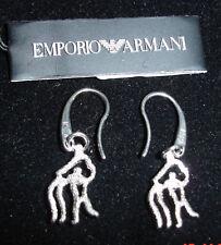 ARMANI SILVER DIAMOND CUT ZODIAC AQUARIUS EARRINGS