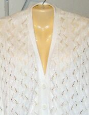 MAG Magaschoni White Cardigan Sweater New with Tags Sz Large Cotton Washable