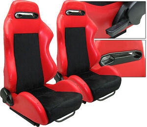 NEW 1 PAIR RED PVC LEATHER & BLACK SUEDE ADJUSTABLE RACING SEATS CHEVROLET ***