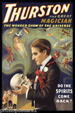 MAGIC THURSTON THE GREAT MAGICIAN SPIRITS BACK SKULL DEMONS VINTAGE POSTER REPRO