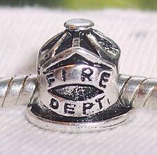 Fire Department Fireman Helmet Firefighter Bead fits European Charm Bracelets