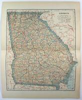 Georgia - Original 1908 Map by Dodd Mead & Company. Antique
