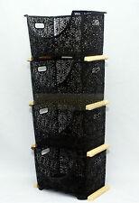 Vegetable Storage Rack Kitchen Stacking Nesting Basket Stand Plastic 4T D Brown