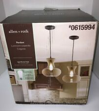NEW Allen + Roth Pendant Light Aged Bronze Vintage Champagne Tinted Glass Shade