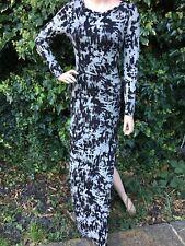 Black Grey Full Length Vamp Gothic Buffy Morticia Pagan Spilt Side Dress 10-12