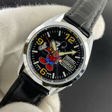 Vintage Seiko Mickey Mouse Day Date Black Face 6309 36MM Mens Wrist Watch ST047