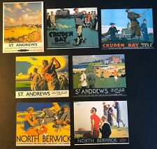 1996 Sheridan Collectibles RAILWAY POSTERS - GOLF 7 card set UK, St. Andrews+