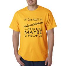 Bayside Made USA T-shirt Dog All I care About Miniature Schnauzer Maybe 3 People