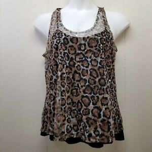 Boston Proper L Leopard Sequins Sheer Top Attached Black Tank Sleeveless Party