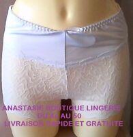 lingeriegrandestailles 44/46/48/50 femme shorty/slip haut dentelle stretchblanc