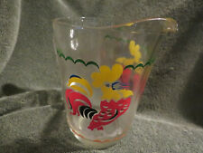 Vintage Small Clear Glass Pitcher With Rooster Design