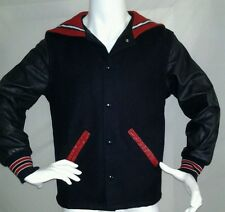 Holloway Navy Jacket Sz S Short Wool Leather Sailor Nautical Varsity Letterman