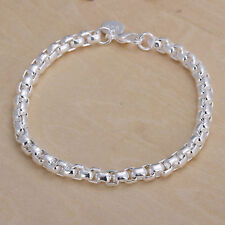 Hot Sale 925 Silver Plated Round Grid Chain Bracelet Bangle Costume Jewelry Gift