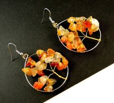 1 Tree of Life Pair of Red Agate Gemstone Chips Dangle Earrings #B80