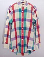 Vintage 70s Chaps Ralph Lauren Mens Retro Plaid Dress Shirt button Down Size XL