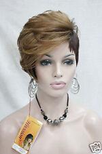 Hi-quality heat friendly hair strawberry blonde mix brown short asymmetrical wig