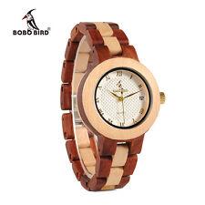 Bobo Bird Red Sandalwood Female Watch Quartz SandalwoodBand Wristwatch for Women