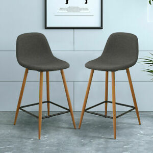 2 x New Bar Stool Leather Upholstered Metal Leg Bar Stool Kitchen Dining Chair