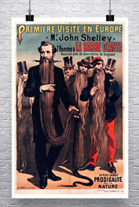Longest Bearded Men Barber Paris Sideshow Poster Giclee Print on Canvas or Paper
