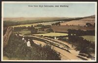 West Sussex - View from High Salvington -  Vintage Printed Postcard