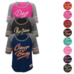"""NFL Outerstuff  Team """"Hi-Lo"""" Raglan T-Shirt Collection Girls Youth Size (S-XL)"""