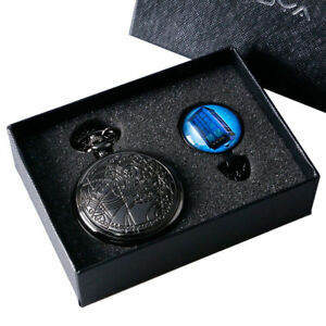 Black Doctor Who Design Analog Quartz Watch Pocket Watch Necklace Chain Gift