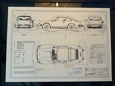 Limitierter ARTprint Porsche 930 /911. 9173 Konstruktionszeichnung