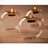 Round Crystal Glass Candle Holder Wedding Bar Party Dinner Decor Candlestick New