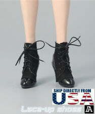 "1/6 Scale Lace Up Leather Boots A For 12"" Hot Toys TBLeague Female Figure U.S.A."