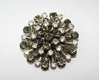 Vintage gray & clear Rhinestone Starburst flower  BROOCH pin costume jewelry
