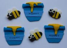 12 edible BEES & HUNNY POTS cake CUPCAKE topper DECORATION honey POOH garden